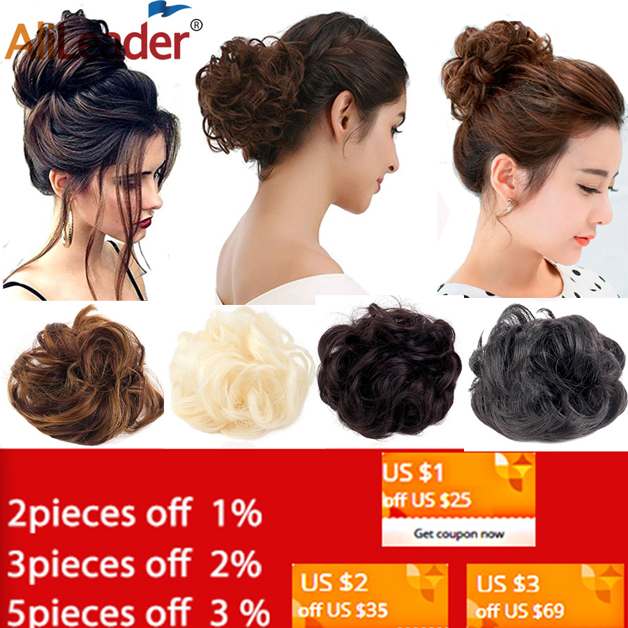 AliLeader Synthetic Elastic Curly Hair Donut Curly Chignon Hair Piece For Women Fake Hair Bun Black Brown 1pcs Ponytails