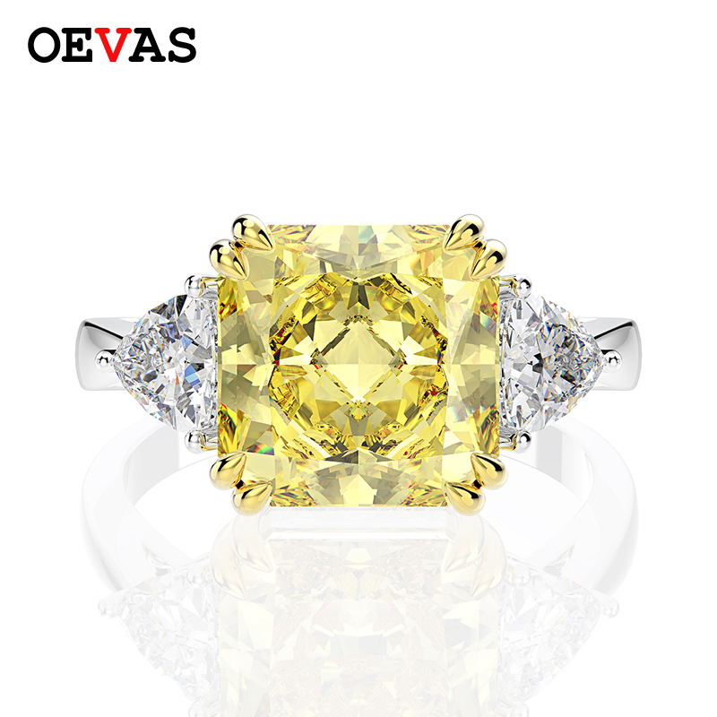OEVAS 100% 925 Sterling Silver Created Moissanite Citrine Sapphire Gemstone Wedding Engagement Ring Fine Jewelry Wholesale