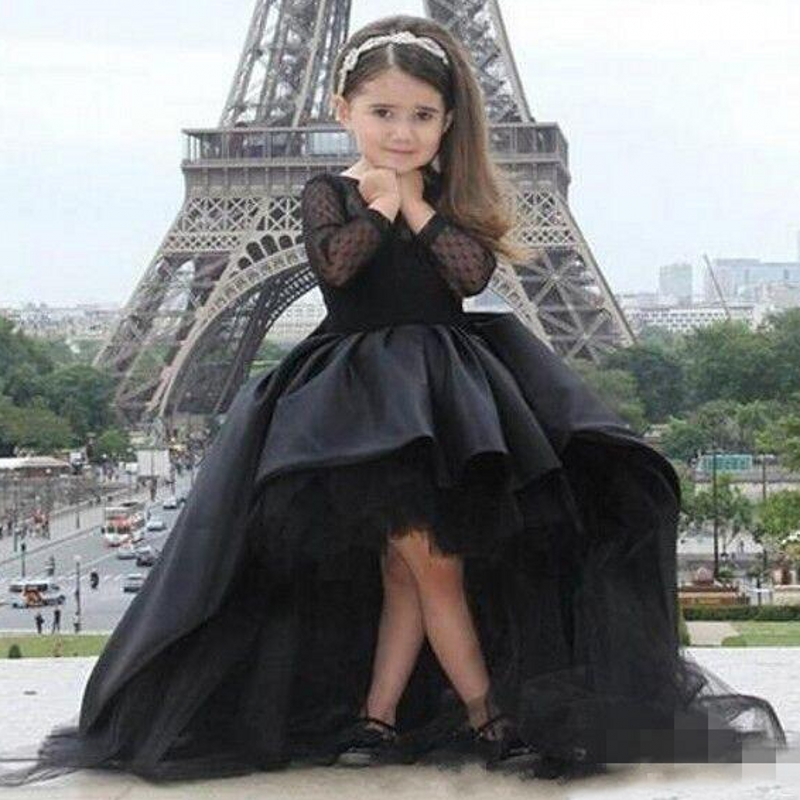 Haute basse robes de fille de fleur filles de fleurs robe de reconstitution historique pour les petites filles Glitz sainte première Communion robes pour les filles robes