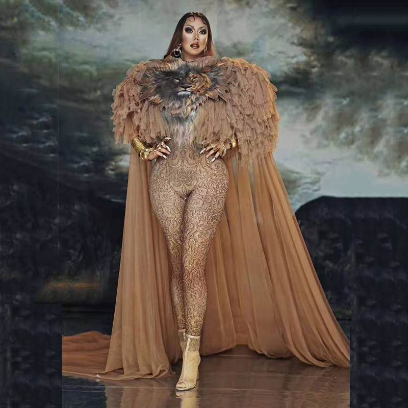 Fashion Lion Pattern Jumpsuit Long Mesh Cloak Set Women Singer Costume Cosplay Dance Outfit Prom Model Show Outfit