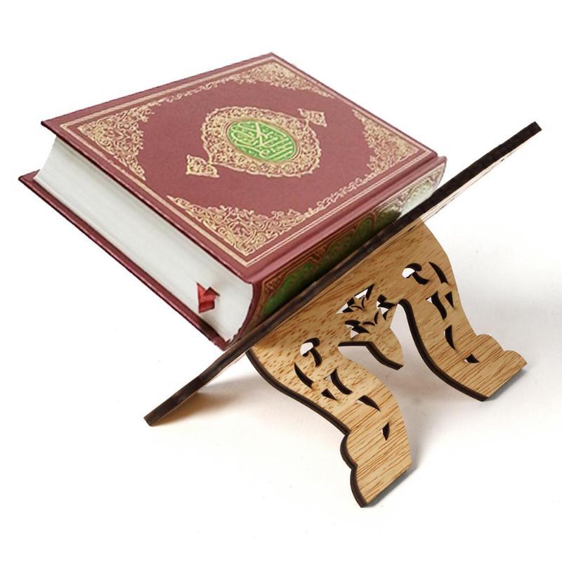 Mini Bookend Stand Eid Mubarak Wooden Bible Hollow Shelf Islam Book Storage Display Rack Stand For Music Score Recipe