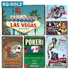 [SQ-DGLZ] LAS VEGAS Barra de señal de metal decoración de pared estaño signo Vintage Bar decoración de la pared del pub pintura póker bolos arte cartel