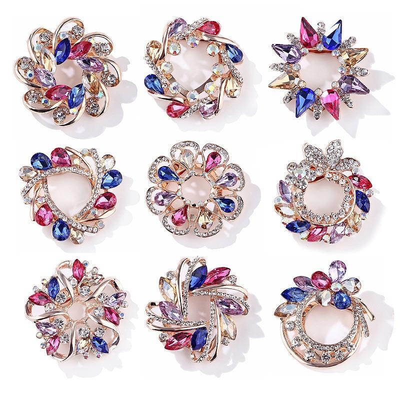 2019 Jewelry Gift Wreath Brooch Rhinestone Multicolor Brooches