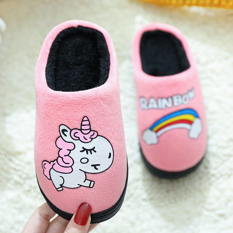 Winter Children Slippers For Girls Unicorn Boy Cartoon Panda/dinosaur/puppy Cotton Home Shoes Warm Plush Indoor Kids Floor Shoes