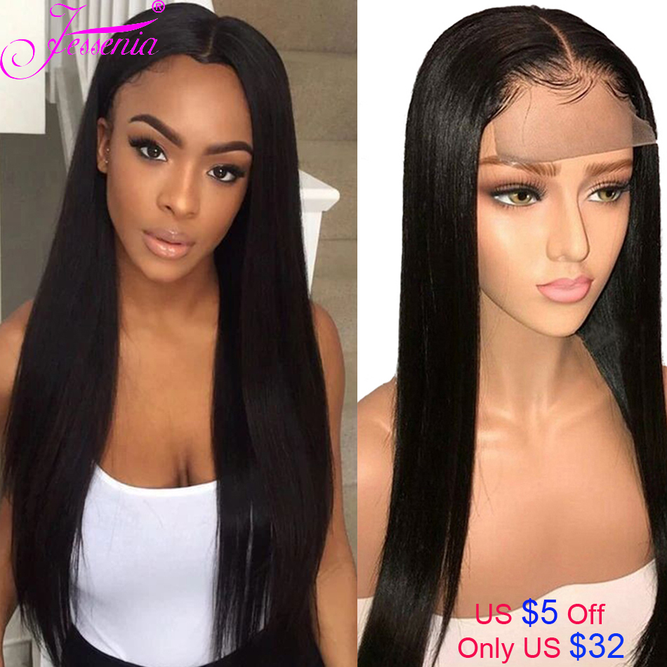 Straight Human Hair Lace Wig Brazilian Hair 4x4 Lace Closure Wig For Black Women Remy Hair Wig Density 150%