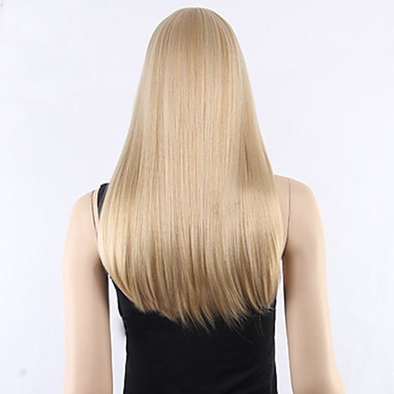 Image 5 - HAIRJOY  Women Synthetic Hair Neat Bangs Long Straight Heat Resistant Fiber Wigs 8 Colors  AvailableSynthetic None-Lace  Wigs   -