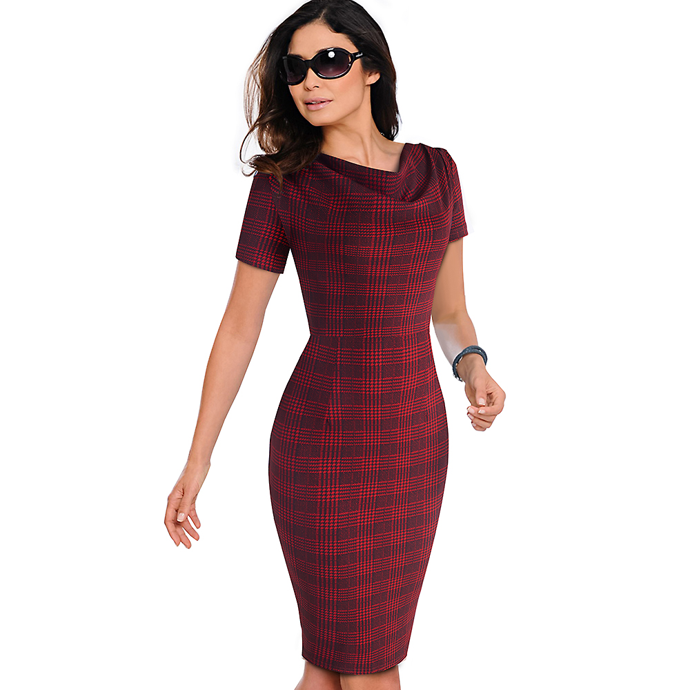 Nice-forever Women Vintage Wear to Work Elegant vestidos Business Party Bodycon Sheath Office Ruffle Female Dress B452 19