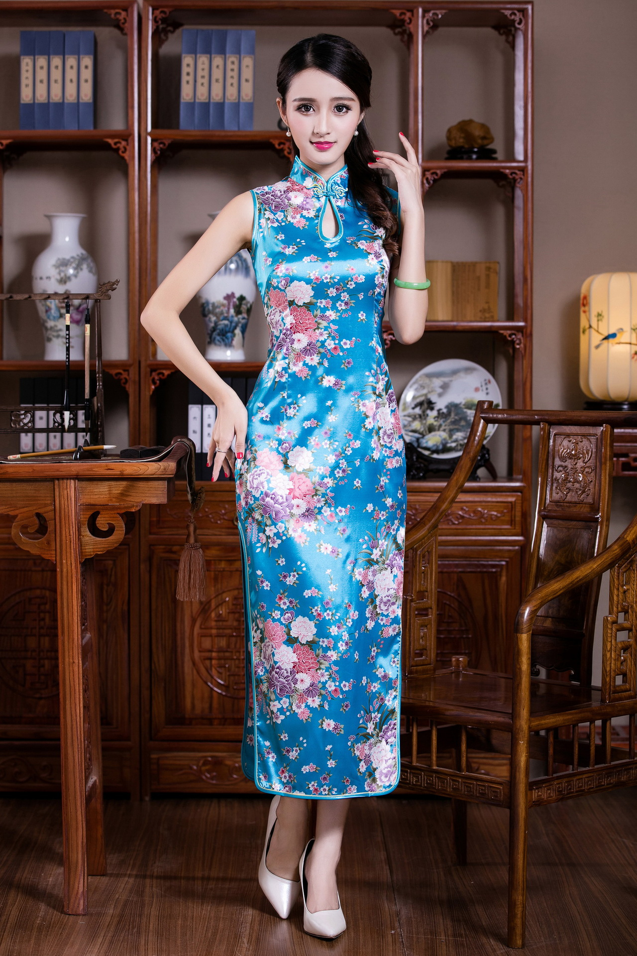 Imitated Silk Fabric Printed Cheongsam Long Dress Summer Wear Daily Life Chinese Style Improved Retro Performance Stage Banquet