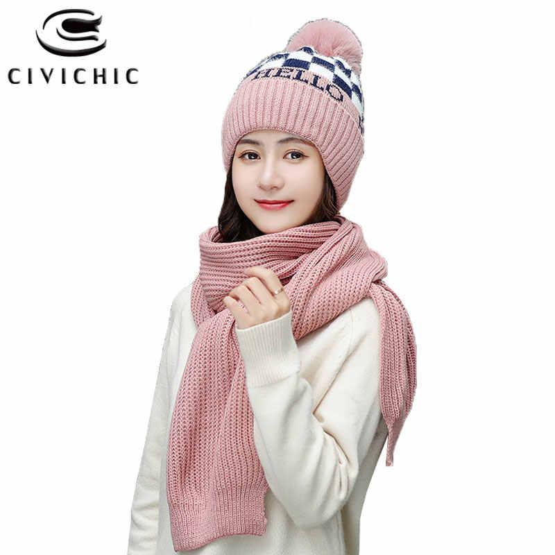 Chic Women Crochet Scarf Hat 2 PCS Pompon Cap Shawl Warm Set Neck Warmer New Year Knit Muffler Headwear Winter Knitwear SH122