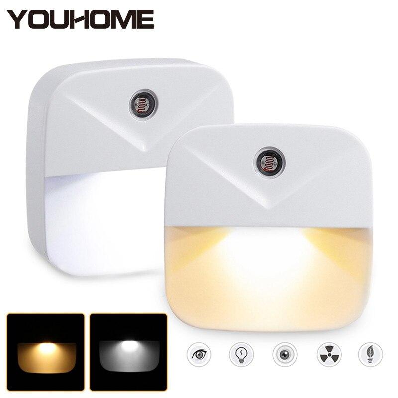 LED Night Light Mini Light Sensor Auto Control 110V 220V EU US Plug Led Lamp Children Baby Kids Bedroom LivingRoom Free Shipping