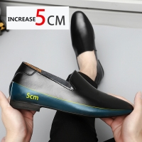 Loafers Men Elevator Shoes Men's Casual Shoes Male Buiness Cow Leather Shoes Height Increase Shoes Insoles 5CM Formal Tall 1