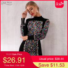 Adyce 2020 New Autumn Women Luxury Celebrity Evening Runway Party Dress Vestidos Sexy Black Long Sleeve Sequined Mini Club Dress