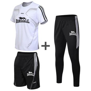 3 Pieces/Set Sports T-shirt Mens Suit Running Shorts + Jogging Pants Sportswear Suits Football Wear Fitness Clothes New