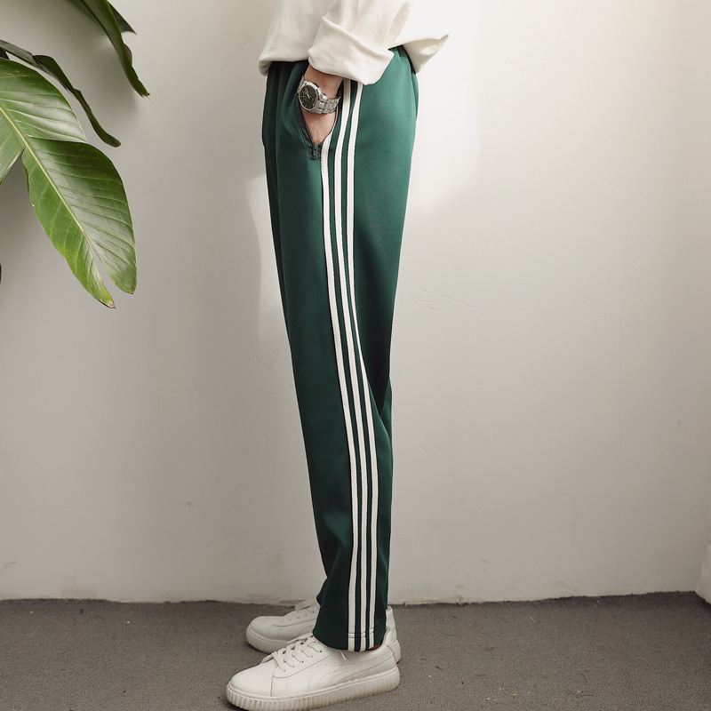 G-DRAGON GD Celebrity Style Green Pants Three Bars Dark Green Athletic Pants Wu Yifan Big Talker School Pants Ankle Banded Pants