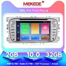 Автомобильный DVD плеер HD, Android 10,0, 2 + 32 ГБ, 2 Din, радио, GPS, Navi, для Ford Focus, Mondeo, Kuga, C MAX, Galaxy Audio, головное устройство