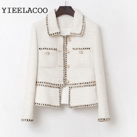Tweed Jacket Women creamy white spring / autumn /winter women's jacket coat classic ladies one piece jacket