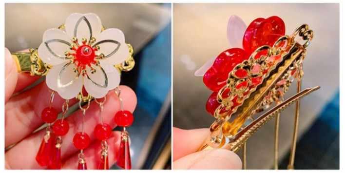 1Pair Vintage Bridal Hair Accessories With tassels Fairy Hair Comb Side Clip G