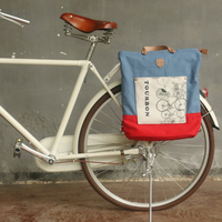 Tourbon Vintage Fashion Bicycle Bag Pannier Pouch Bike Rear Seat Carrier Cycling Bags Pack Waxed Water Repellent Canvas
