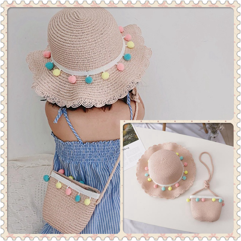 Summer Beach Colorful Sun Hat Fashion Kid Girls Weave Straw Hat Cap+Bag Handmade