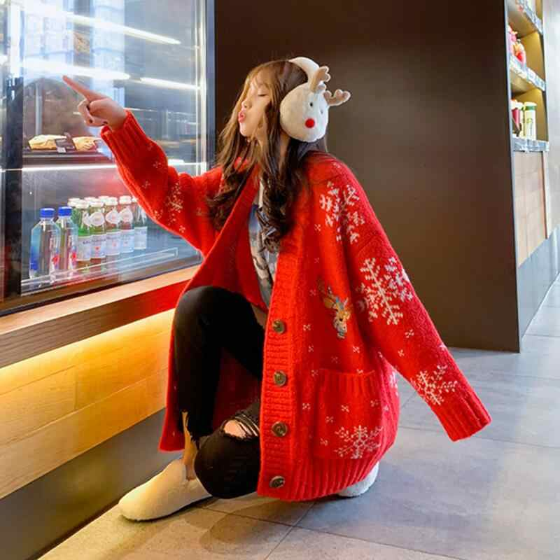 Women Christmas cardigan female v neck full sleeve sweater Korean version loose autumn and winter cardigans jacket thickening