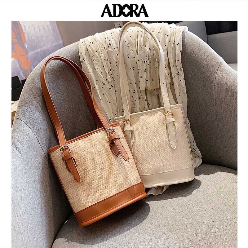 Straw-woven Bucket Tote Bag Women Straw Beach Fashion Solid Color High Capacity Weave Tassels Shoulder Bags