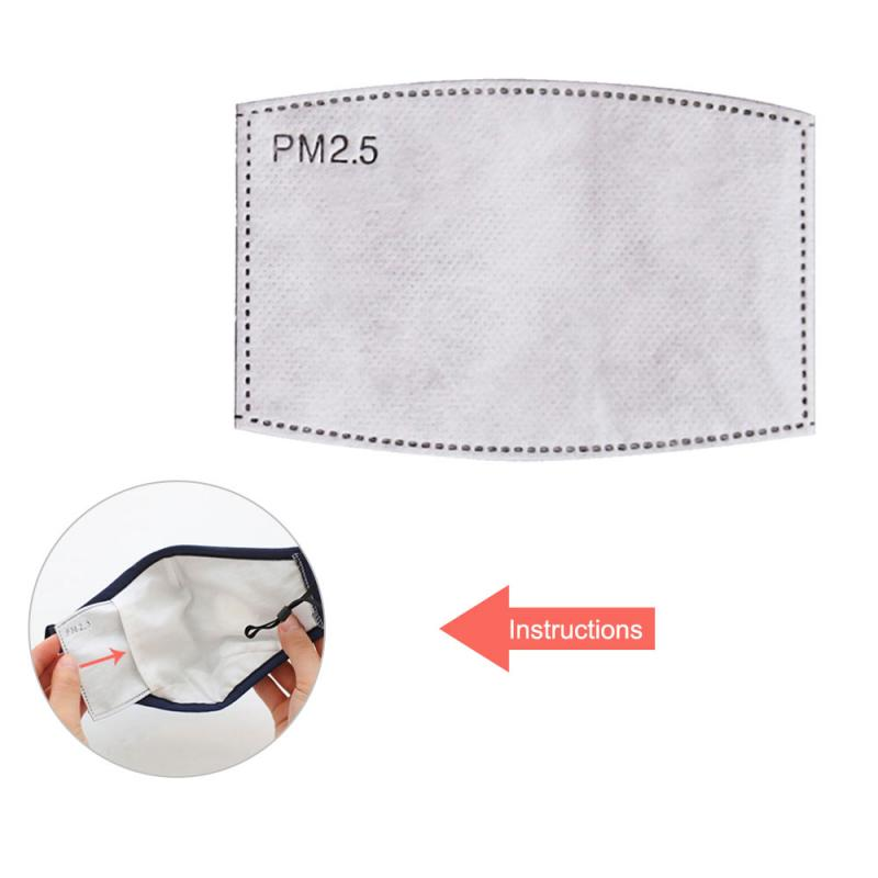5 Pcs Anti Haze And Dustproof Square Arc Active Carbon Filter Active Carbon PM2.5 Masks Replaceable Filters Dust Mask Accessoris