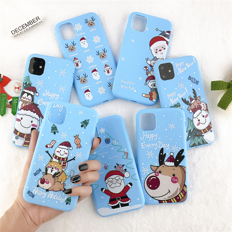 moskado New Year Christmas Silicone Case For iPhone 11 Pro Max X XR XS Max 5S 6S 7 8 7Plus Santa Claus Elk Pattern Phone Cover