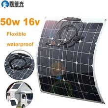 50w 16v Flexible Solar Panel Portable Charger Kits home USB 5v  for phone 12v battery RV Car Boat Camping Hiking Mono Waterproof