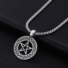 Skyrim Pentagram Jewish Religious Paganism Amulet Pendant Necklace Wicca Men Vintage Stainless Steel Chain Necklaces Jewelry