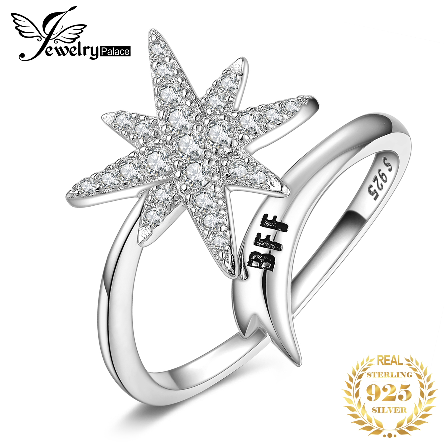 JewelryPalace Engraved  BFF Snowflake Cocktail Ring 925 Sterling Silver Rings For Women Party Stackable Ring Silver 925 Jewelry