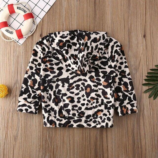 Nouveau-né bébé vêtements à capuche fille garçon vêtements à manches longues imprimé léopard hauts T-Shirt tenue de printemps