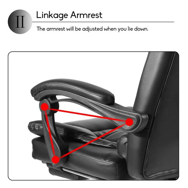 Office Computer Chair Ergonomic Adjustable Rotating PU Leather Gaming Chair Armchair with Footrest Computer Lifting Swivel Chair 4