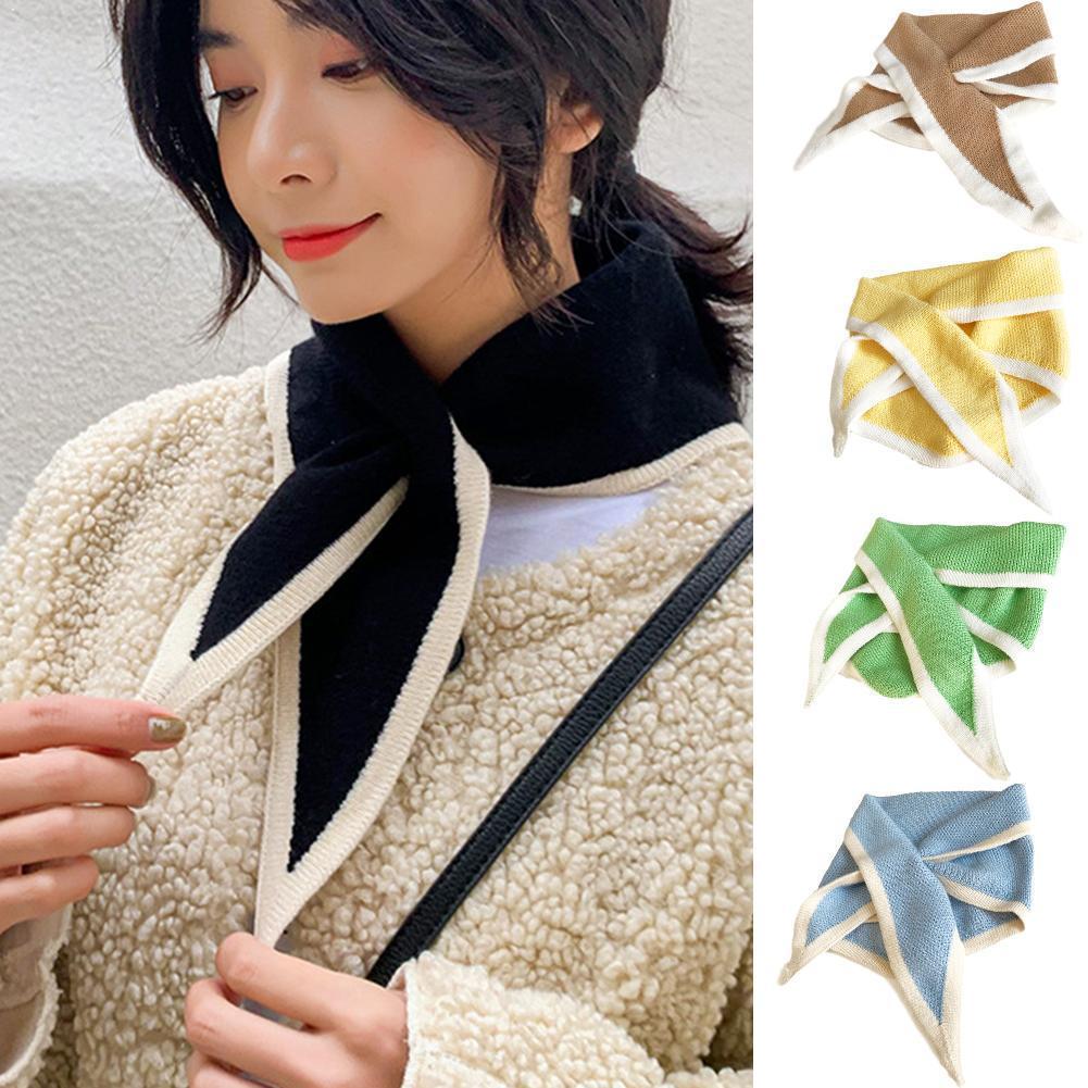 Bow Cross Warm Scarf Winter Woolen Knit Elastic Female Triangular Color Collar Neck Bib False Guard Scarve Soft U1S5
