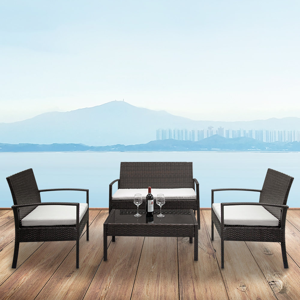 【US Warehouse】2pcs Arm Chairs 1pc Love Seat & Tempered Glass Coffee Table Rattan Sofa Set Brown Gradient (Outdoor Rattan Sofa)