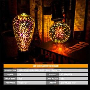 Image 3 - Diodo emissor de luz 3d estereoscópico novidade lâmpada 85 220 v e27 fogos de artifício prata chapeado interior decoração de natal lâmpada a60 st64 g80 g95g125