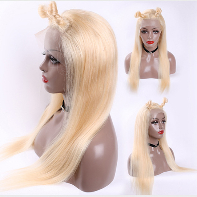 Straight blonde lace front wig Topline Middle T Part human hair wigs Lace Front Wig 613 frontal wig Peruvian Hair Remy Jarin