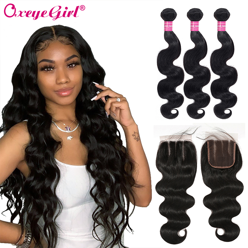 5x5 Closure With Bundles Malaysian Body Wave Bundles With Closure Oxeye Girl Human Hair Bundles With Closure Non-Remy Hair