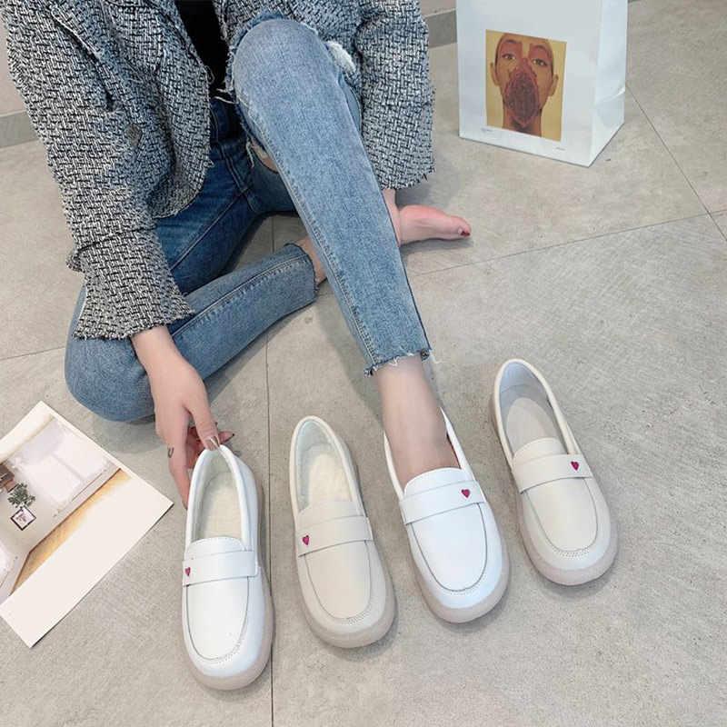 Frauen Haken Schleife Pu Wohnungen Sneakers Frau Casual Slip Auf Weichen Komfort Müßiggänger Schuhe Damen Mode Weibliche Weiß Walking Schuhe