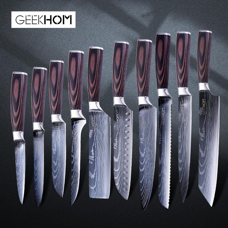 """Японский набор кухонных ножей Santoku, нож из нержавеющей стали, умный резак, кухонный нож для приготовления пищи, нож шеф повара для мяса, овощей 8"""" Кухонные ножи      АлиЭкспресс"""