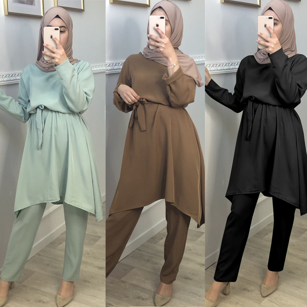 2 Pieces muslim suits Hijab Muslim sets female Kaftan Islamic Clothing Grote Maten Dames Kleding Ensemble Femme Musulmane F1701 Women Women's Abaya Women's Clothings cb5feb1b7314637725a2e7: Brown|nude green|the black scarf|black
