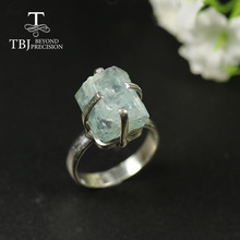 TBJ,2020 aquamarine Ring unique handmade  natural gemstone jewelry 925 sterling silver women ring birthstone jewelry for march