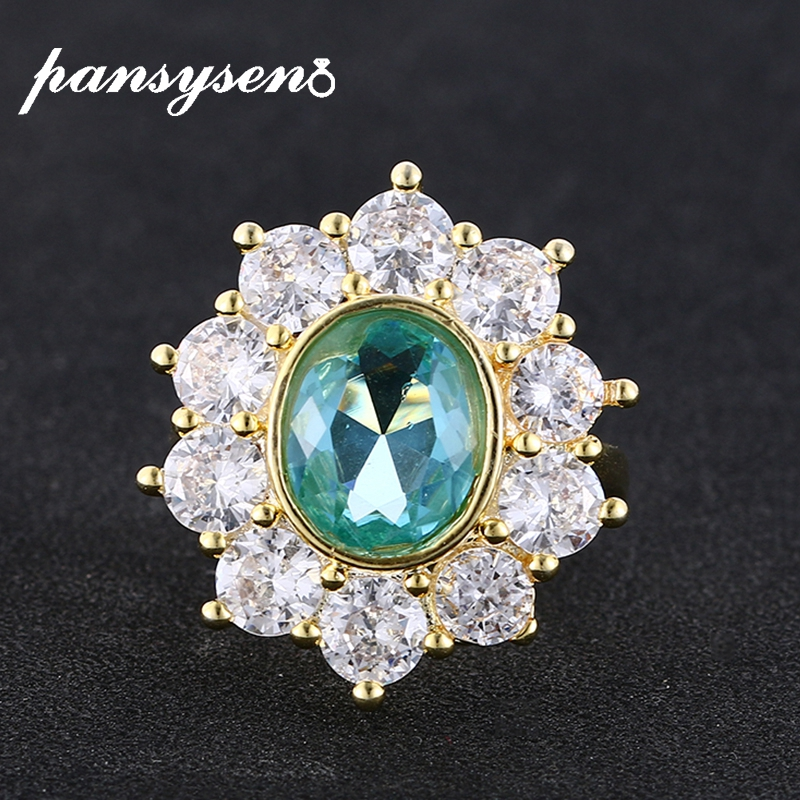 PANSYSEN Luxury Gold Color Flower Shape Topaz Gemstone Rings for Women Silver 925 Fine Jewelry Drop Shipping Cocktail Party Ring