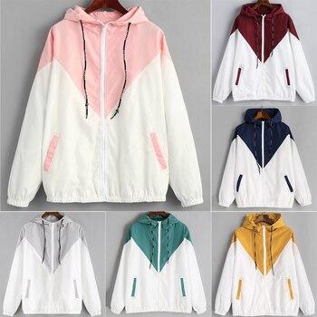 Women Long Sleeve Patchwork Thin Hooded Zipper Pockets Coat Long Sleeve Moletom Colorblock Sweatshirt Couple Hoodies Sweatshirt grommet detail tied open sleeve sweatshirt