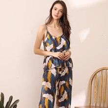 Summer New Suspender Crane Pattern Top Pajamas Women's Pajam