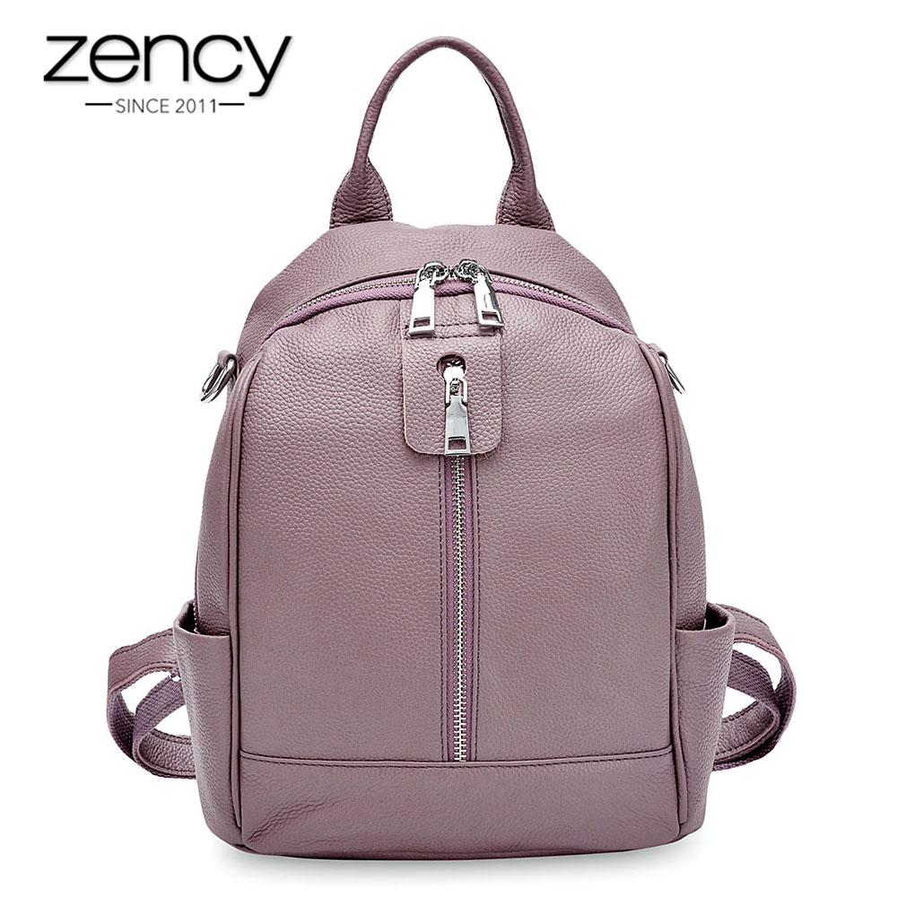 Zency Fashion Women Backpack 100% Cowhide Genuine Leather Black Travel Bags Girl's Schoolbag Notebook High Quality Knapsack