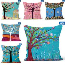 Natural Linen Cartoon Plants Cushion Cover Floral Birds Trees Owls Throw Pillow Cover Square 45X45 Pillowcases cartoon christmas square cushion throw pillow case