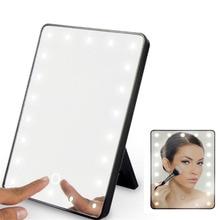USB двойной светодиодный зеркало для макияжа складное зеркало вращающееся на 360 ° туалетное зеркало