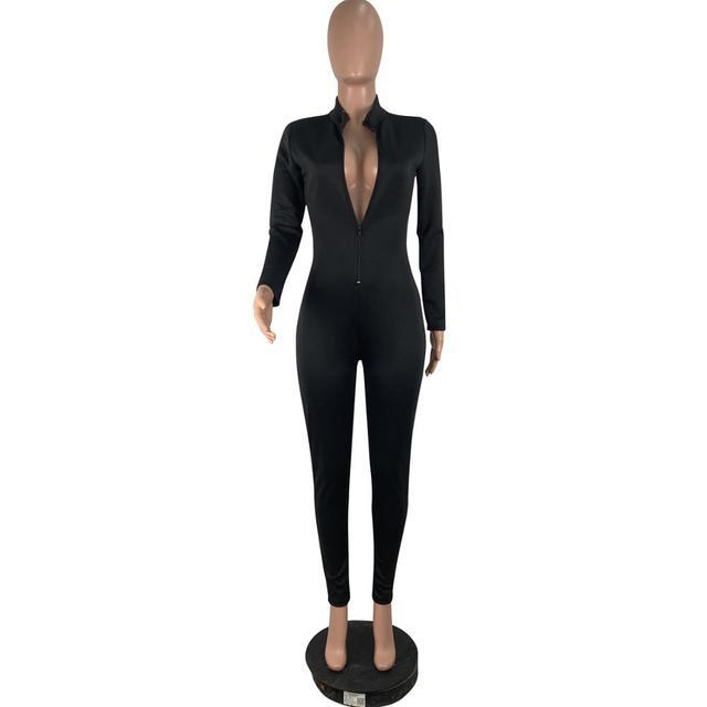 Sexy noir fermeture éclair col en V combinaison femmes à manches longues Legging moulante barboteuses femmes combinaison décontracté Sport vêtements corps mince salopette