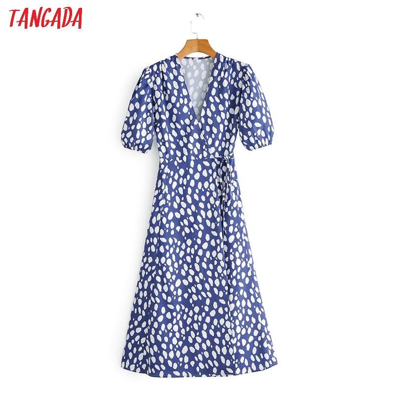 Tangada Fashion Women Dots Print Chiffon Dress 2020 Summer New Short Sleeve Ladies OL Midi Dress Vestidos 1F162