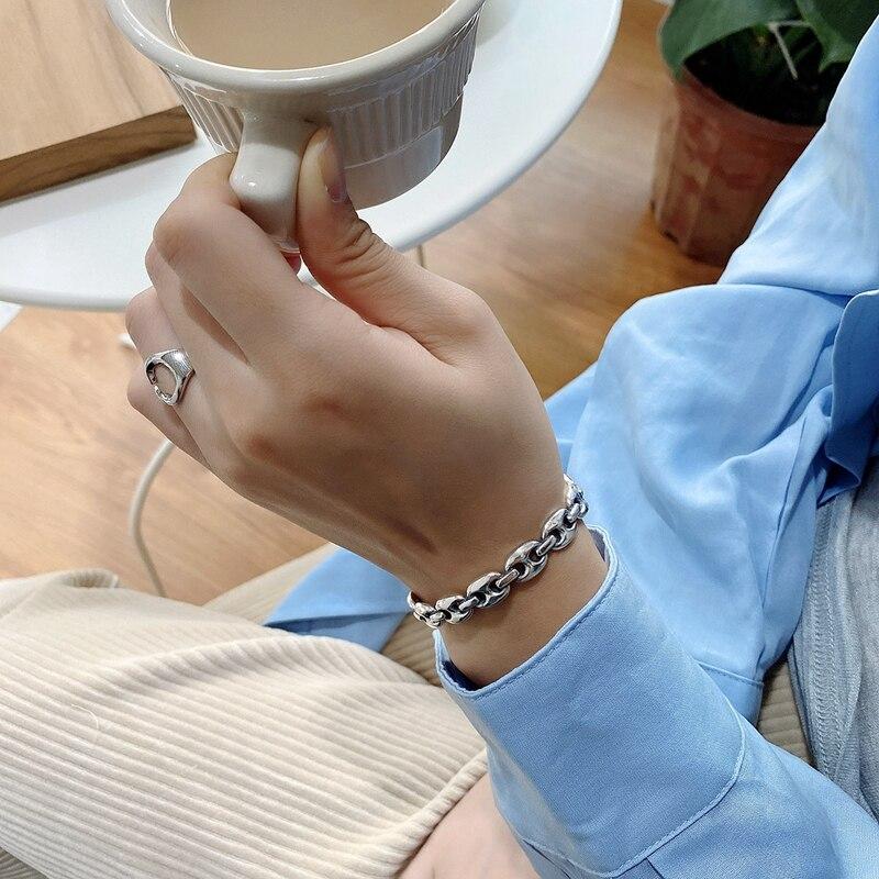 Moda Antiguos Pulido Anchas Abierta Pulseras Mujer Brazalete Joyeria